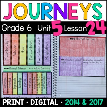 Journeys 6th Grade Lesson 24: Harriet Tubman (Supplemental & Interactive Pages)