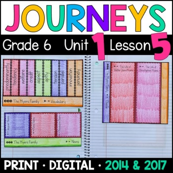 Journeys 6th Grade Lesson 5: The Myers Family (Supplemental & Interactive Pages)