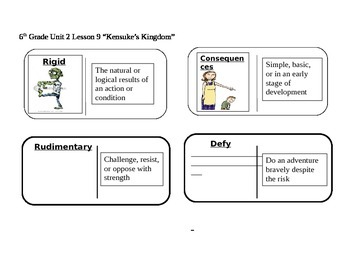 "Journeys 6th Grade Reading Series Vocabulary Dominoes ""Kensuke's Kingdom"""