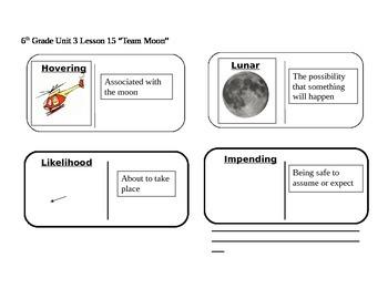 "Journeys 6th Grade Reading Series Vocabulary Dominoes ""Team Moon"""
