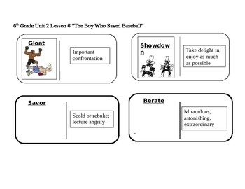"""Journeys 6th Grade Reading Series Vocabulary Dominoes """"The"""