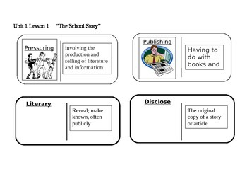 """Journeys 6th Grade Reading Series Vocabulary Dominoes """"The School Story"""""""