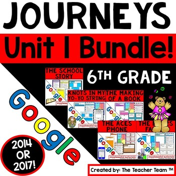 Journeys 6th Grade Unit 1 Bundle Supplemental Resources Google Drive Resource