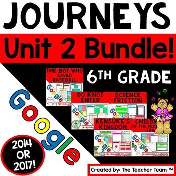 Journeys 6th Grade Unit 2 Google Bundle   2014 or 2017   Distance Learning