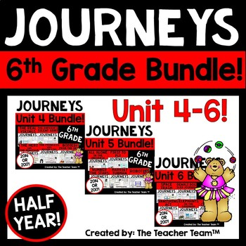 Journeys 6th Grade Unit 4-6 Half Year Bundle Supplemental Materials 2014 or 2017