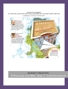 """Journey's """"A Package for Mrs. Jewls"""" Comprehension & Vocabulary Worksheet"""