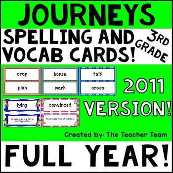 Journeys 3rd Grade Vocabulary and Spelling Word Cards 2011
