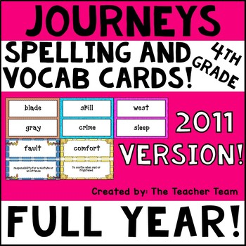 Journeys 4th Grade Vocabulary and Spelling Word Cards 2011
