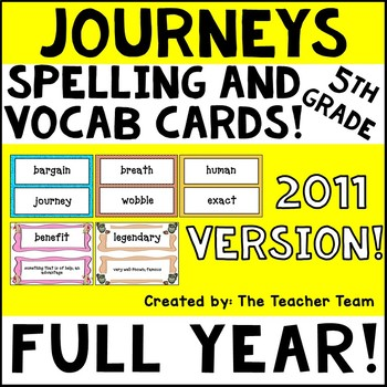 Journeys 5th Grade Vocabulary and Spelling Word Cards 2011