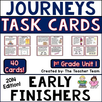 Journeys 1st Grade Unit 1 Task Cards Supplemental Materials Common Core 2014