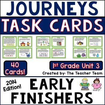 Journeys 1st Grade Unit 3 Task Cards Supplemental Materials Common Core 2014