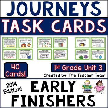 Journeys 1st Grade Unit 3 Early Finishers Task Cards