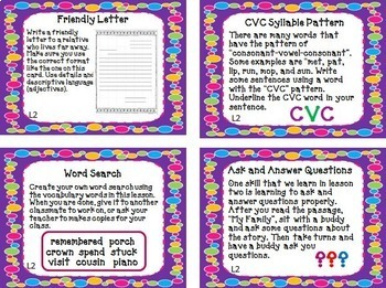 Journeys 2nd Grade Unit 1 Task Cards Supplemental Materials Common Core 2014