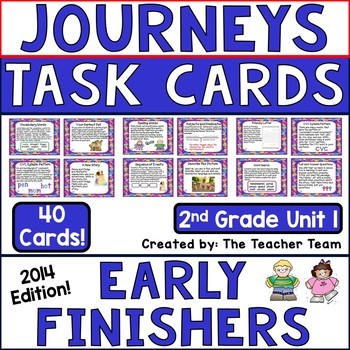 Journeys 2nd Grade Unit 1 Early Finishers Task Cards 2014