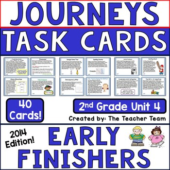 Journeys 2nd Grade Unit 4  Task Cards for Centers and Smal