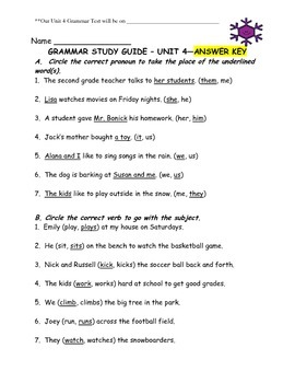 Journey's Aligned Unit 4 Grammar Study Guide