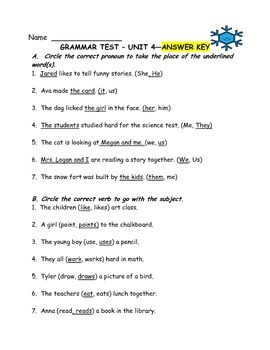 Journeys Aligned-Unit 4 Grammar Test
