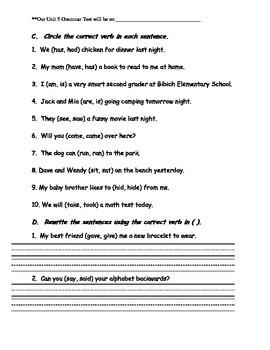 Journeys Aligned-Unit 5 Grammar Study Guide
