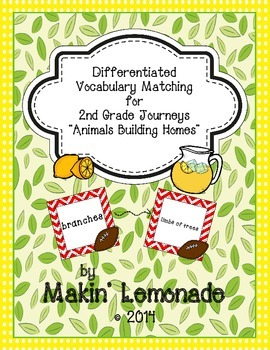 "Journeys: ""Animals Building Homes"" Differentiated Vocabulary Match Game"