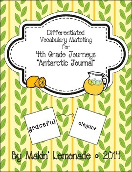 "Journeys: ""Antarctic Journal"" Differentiated Vocabulary Match Game"