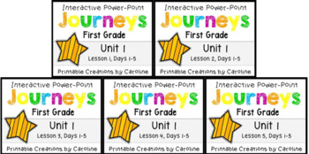 Journeys BUNDLE Unit 1 Weeks 1-5 Power Points First Grade