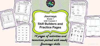 Journeys Based Activity Pages and Skill Builders Grade 1 Lesson 1