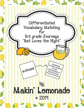 "Journeys: ""Bat Loves the Night"" Differentiated Vocabulary Match Game"