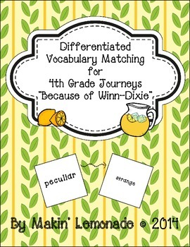 "Journeys: ""Because of Winn-Dixie"" Differentiated Vocabulary Match Game"
