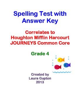 Journeys CC Unit 4 Lesson 16 Spelling Test Grade 4