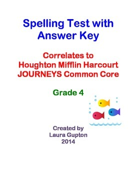 Journeys CC Unit 6 Lesson 30 Spelling Test Grade 4