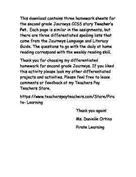 Journeys CCSS 2nd grade differentiated homework - Teacher's Pet