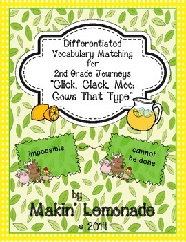 """Journeys: """"Click, Clack, Moo"""" Differentiated Vocabulary Match Game"""