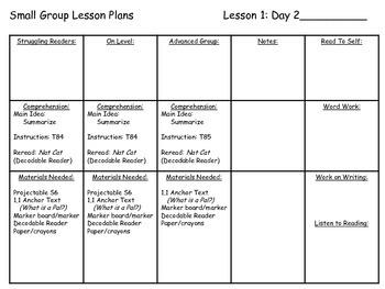 Journeys Common Core 1st Grade Small Group Lesson Plans Unit 1