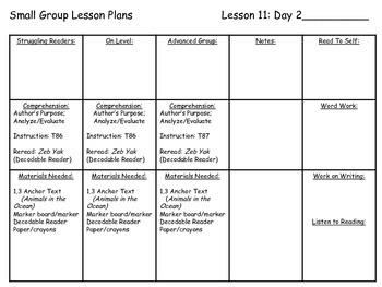 Journey's Common Core 1st Grade Small Group Lesson Plans Unit 3