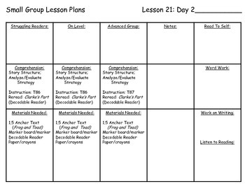 Journey's Common Core 1st Grade Small Group Lesson Plans Unit 5