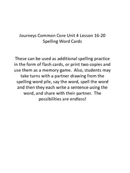 Journeys Common Core 1st Grade Spelling Word Cards