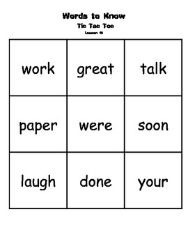 Journeys Common Core 2014 Words To Know Tic Tac Toe 1st grade Sight Words Review
