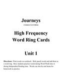 Journeys 2nd Grade HFW Cards: Unit 1