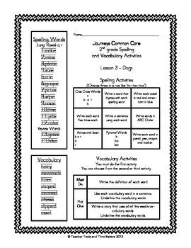 Journeys 2nd Grade Spelling & Vocabulary - Centers or Homework - Units 1, 2, 3