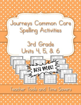 Journeys 3rd Grade Spelling Activities - Centers or Homewo