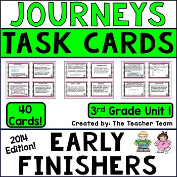 Journeys 3rd Grade Unit 1 Early Finishers Task Cards 2014
