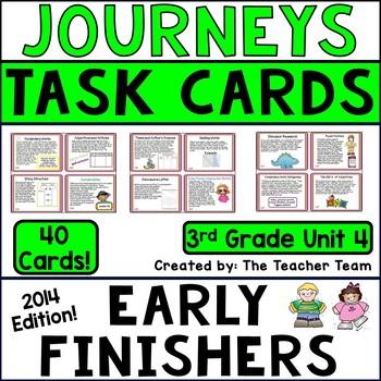 Journeys 3rd Grade Unit 4 Task Cards Supplemental Printables 2014 or 2017