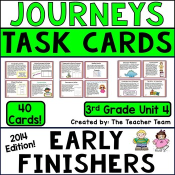 Journeys 3rd Grade Unit 4 Early Finishers Task Cards 2014