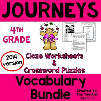 Journeys 4th Grade Cloze - Crossword Puzzles Units 1-6 2014