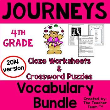 Journeys 4th Grade Cloze - Crossword Puzzles Bundle Units 1-6 2014