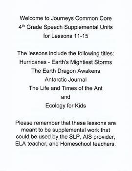 Journeys Common Core 4th Grade Supplemental Bundle Lessons 11 - 15