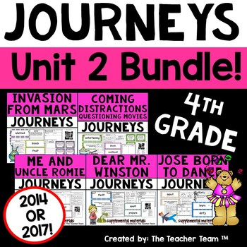 Journeys 4th Grade Unit 2 Supplemental Activities & Printables CC 2014 or 2017