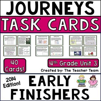 Journeys 4th Grade Unit 3 Task Cards Supplemental Materials CC 2014