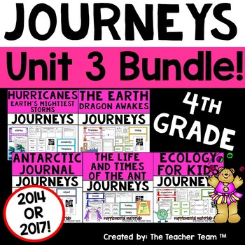 Journeys 4th Grade Unit 3 Supplemental Activities & Printables CC 2014 or 2017