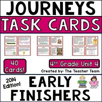 Journeys 4th Grade Unit 4 Task Cards Supplemental Materials CC 2014